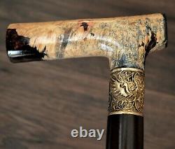 Unique Walking Cane Walking Stick Wooden Handmade Bronze Parts Stabilized Burl