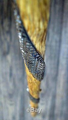 Unique Wooden Walking Stick Cane Hiking Staff hand carved Handmade Cobra dark