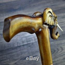Unique Wooden Walking Stick Cane Hiking Staff hand carved Handmade Elephant