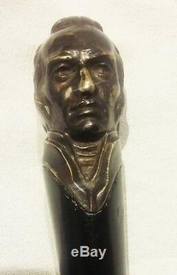 Uruguay José Gervasio Artigas RARE original cane wooden & bronze walking stick
