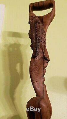 VTG Wooden Walking Stick Handle Handmade Eagle Head Hand Carved Support Canes