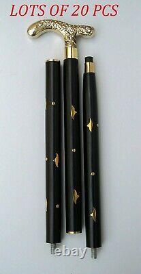 Victorian Vintage solid brass designer handle with black wooden walking stick cane