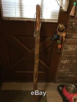 Vintage 4 Ft. Handmade Wooden Hickory Walking Stick/Cactus Rain Stick