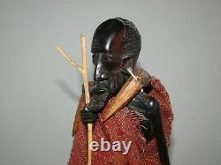Vintage African Hand Carved Wood Wooden Man withWalking Stick Figure 12 1/2