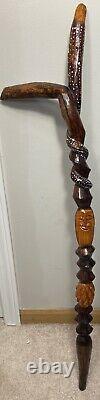 Vintage African Wooden Cane Walking Stick Folk Art Hand Carved Painted 38 Inch