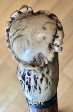 Vintage Antique 19C Walking Stick Cane Antler Stag Wooden Shaft Original Ferrul