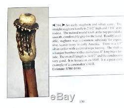 Vintage Antique 19C Walking Stick Cane Antler Stag Wooden Shaft Original Ferrule