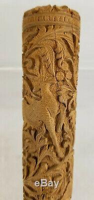 Vintage Antique Indian Carved Export Wooden Cane Umbrella Walking Stick Handle