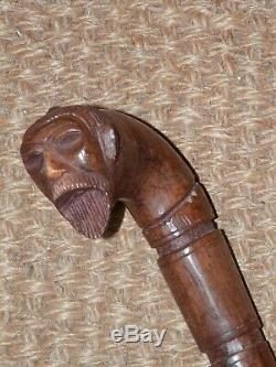 Vintage/Antique Samurai/Japanese Man Hand Carved Wooden Walking Stick 90cm