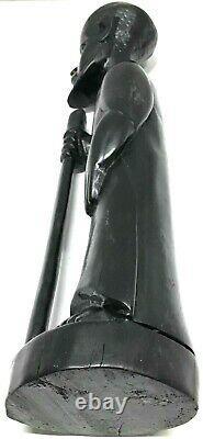 Vintage Black Wooden Hand Carved Man Figurine Walking Stick 12 One Of A Kind