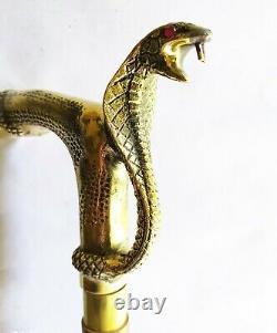 Vintage Brass Golden Snake Head Handle Victorian Style Wooden Walking Stick