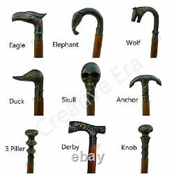 Vintage Brass Head Designer Handle Wooden Walking Cane Stick Set of 9 pcs Gift