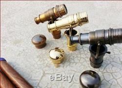Vintage Brass Telescope Handle Walking Stick Gift Set of Three Wooden Cane Gift