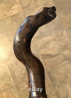 Vintage Carved Wooden Cobra Snake Walking Stick 39
