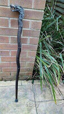 Vintage Carved Wooden Dragon Handle Walking Stick / Cane 38 inch / 97 cm