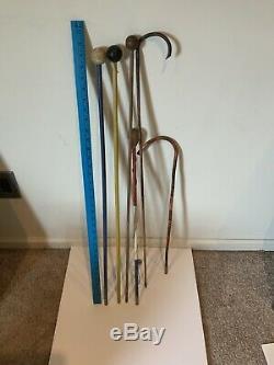 Vintage Circus Carnival Wooden Cane Walking Sticks Lot