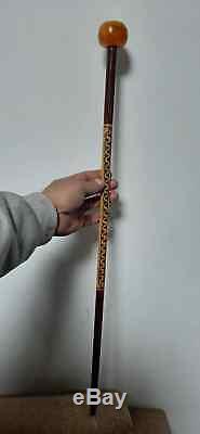 Vintage Copal Amber Crow Head Handle Walking Stick Brown Wooden Handmade