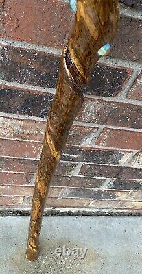 Vintage FolkArt handmade wooden Walking/Hiking Stick WithUnique Antique Marbles