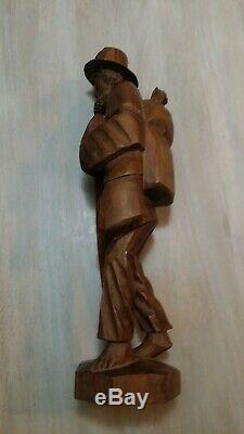 Vintage Hand Carved Wooden Walking Man With Stick, Backpack & Basket RARE