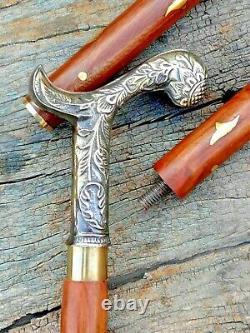 Vintage Solid Brass Antique Head Handle Wooden Walking Stick 3 Fold Cane