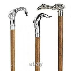Vintage Style Solid Brass Head Handle Wooden Walking Stick Shaft Cane Lot of 3