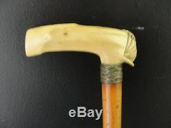 Vintage Victorian Era Bone & Woven Sterling Silver 34 Wooden Walking Stick
