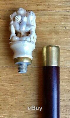 Vintage Walking Stick Cane Wooden Shaft Removable Erotic Top 36L