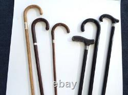 Vintage Wooden Cane Collection Sterling Band BP Feed Walking Stick Estate Lot