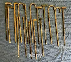 Vintage Wooden Canes Walking Sticks Lot Of 16 Various Styles Make An Offer