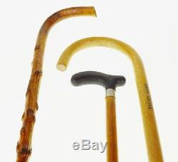 Vintage Wooden Walking Sticks Canes Set of 3