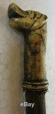 Vintage old Brass Dog Head Handle Walking Stick Wooden Cane