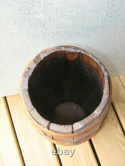 Vtg 21 Wooden Primitive Barrel staves CANE UMBRELLA WALKING STICK HOLDER STAND