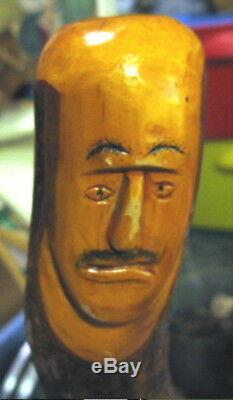 Vtg Carved Wooden Face Unusual Walking Stick Cane Hand 34 Long Odd Face