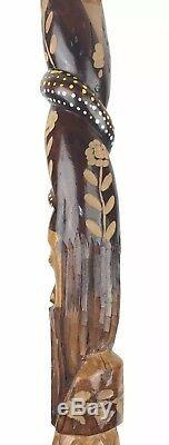 Vtg Hand Carved Wooden 40 Lion Snake Men Walking Stick Wood Cane Jamaican Made