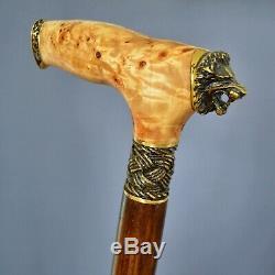 Walking Cane Walking Stick Bronze Elements Wood Wooden shaft Handmade Lion