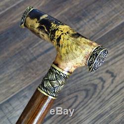Walking Cane Walking Stick Simple Wooden Handmade Bronze Parts Stabilized Burl11