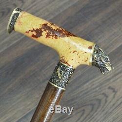 Walking Cane Walking Stick Wolf Wooden Handmade Bronze Parts Stabilized Burl #5
