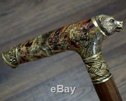 Walking Cane Walking Stick Wood Bronze Stabilized Wooden BURL Handmade Bear