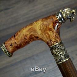 Walking Cane Walking Stick Wood Bronze Stabilized Wooden BURL Handmade Tiger