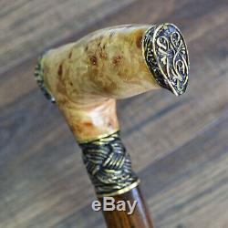 Walking Cane Walking Stick Wood Wooden BURL Handmade Bronze Lion