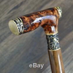 Walking Cane Walking Stick Wood Wooden BURL Handmade Crusader