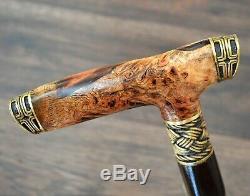 Walking Cane Walking Stick Wooden Handmade Bronze Parts Stabilized Burl Teuton