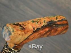 Walking Cane Walking Stick Wooden Handmade Bronze Parts Stabilized Maple Burl