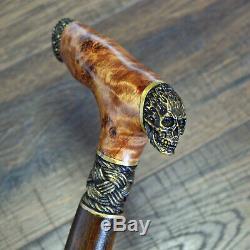 Walking Canes Walking Sticks Wood Bronze Stabilized Wooden BURL Handmade Alien