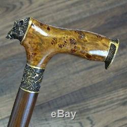 Walking Canes Walking Sticks Wood Bronze Stabilized Wooden BURL Handmade Boar