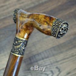 Walking Canes Walking Sticks Wood Bronze Stabilized Wooden BURL Handmade Skull