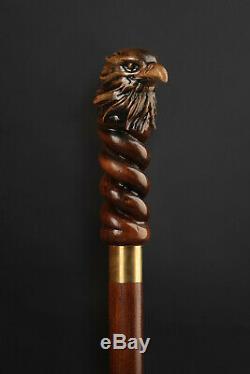 Walking Stick Cane Dark Wooden Handmade Wood Hand Carved
