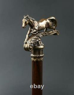 Walking Stick Cane Horse Solid Brass handle & wooden shaft casted Victorian
