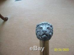 Walking Stick Cane Vtg Pewter Ornate Lion Handle & Dark Shaft Wooden 1 Piece