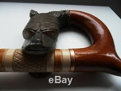 Walking Stick Hand Carved Wooden Wood Wolf Head Handle 35 Canis Lupus Lupine